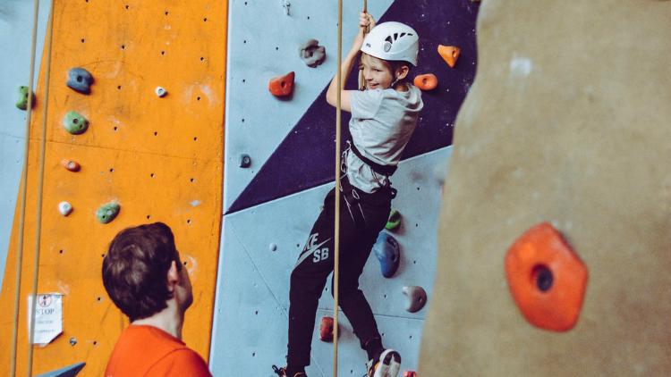 Teen Rock Wall Climbing